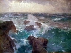 Kárpáthy Jenő Hatalmas festménye - Dühöngő tenger