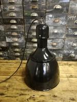 Zománc burás ipari lámpa, mennyezeti lámpa, loft vintage design lámpa (fekete)