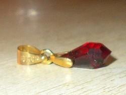 Rubint Csepp Ezüst - 18k Arany Medál