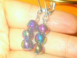 Titánium szivárvány -Láng Aura kvarc Gyöngy 925 ezüst kézműves Fülbevaló