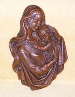 Nagyméretű Mária és kis Jézus viasz falidísz, kép