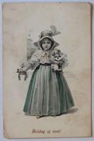 Újévi üdvözlőlap, 1916: Kislány kutyával és szerencsepatkóval