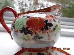 Kutani  kézzel festett kiöntő pünkösdi rózsás,madaras,gésával,vaspiros arany jelzés