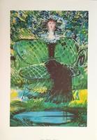 Kass János - Zöld ruhás hölgy 58 x 38 cm színes nyomat