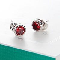 Töltött ezüst (SF) fülbevaló, fazettált rubin CZ kristállyal