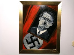 Régi Adolf Hitler festmény olaj farost 265)