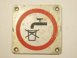 Retro alumínium lemez tábla - nem ivóvíz - MÁV vonat vasút figyelmeztető tábla - 1960-as évekből