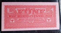 III.Birodalom hajtatlan horogkeresztes 5 Reichspfnnig.