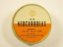 Retro Neocarbolax tabletta fémdoboz pléh doboz - EGYT Egyesült Gyógyszer és Tápszergyár 1960-as évek