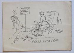 """Békés András operaházi főrendező egyedi nyomtatványa: """"Elköltöztem! ...""""; évszám nélkül"""