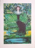 Kass János - Zöld ruhás hölgy 58 x 38 cm színes nyomat, szignált, sérült