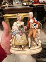 Porcelán dáma és úr 15 cm magas, német, gyönyörű állapotban,