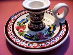 Rózsás, tulipános Wechsler keramik schwarz gyertyatartó