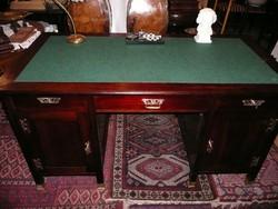 Álomszép eredeti antik szecessziós térbe rakható, angol fiókos mahagóni íróasztal 1910-ből