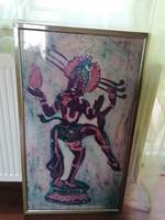 Nagyméretű indiai batik kép keretben, a táncoló Sívát ábrázolja, kiváló minőségű, különleges darab!