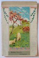Húsvéti üdvözlőlap legelő bárányokkal, 1916-ból