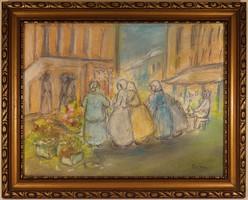 Rippl-Rónai József (1861-1927) Keretezett Pasztell Festmény 1FT!!!