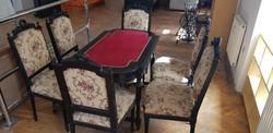 Antik Copf stílusú kártyaasztal 6db székkel!! Áresés!!!!!!!