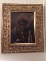 Bihari Sándor kép szép keretben - jelzett, kerettel együtt
