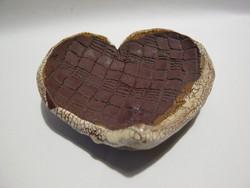 Szív alakú kerámia tálka gyertyatartó mécsestartó