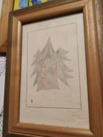 Fenyőerdő ceruzarajz