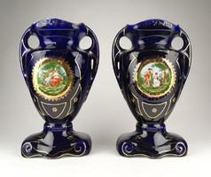 0R299 Régi kobaltkék Altwien porcelán urnaváza pár