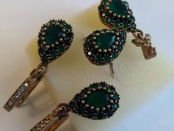Valódi smaragd köves ezüst és bronz ékszer szett