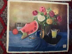 Csendélet dinnyével - vászonkép