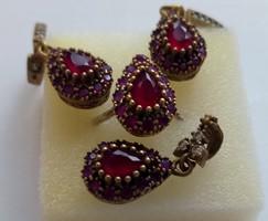 Valódi rubin ezüst és bronz ékszer szett