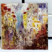 """BÍRÓ KONRÁD: """"CITY"""" festőkéssel készült  20x 20cm olaj-faroston"""