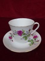 Tientsin porcelán kávéscsésze + alátét, rózsa mintával.
