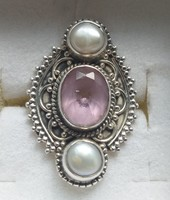 Valódi kunzit köves ezüst gyűrű, természetes gyöngyökkel