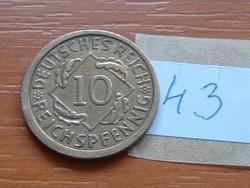 NÉMET WEIMAR 10 PFENNIG REICHSPFENNIG 1924 A 43.