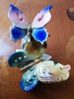 Ens színes pillangó pár, jelzett hibátlan kézzel festett páros lepke porcelán figura