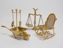 """Mini réz használati eszközök , bútor , 4 darabos """"gyűjtemény"""""""