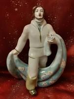 Szovjet ZHK Polonne halász porcelán figura 23 cm