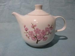 Retro Alföldi teás kanna barackvirág mintával, kiöntő