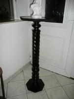 Magas, ritka antik faragott szecessziós posztamens / szobortartó / virágállvány sötét barna színben