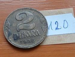 JUGOSZLÁV KIRÁLYSÁG 2 DINÁR 1938 120.