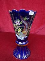 Kobalt kék, arany fácánnal díszített, arany szegélyes, 25 cm magas japán váza.
