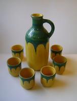 Tófej Kerámia sárga-zöld színű  kancsó 6 db kupicával italos készlet