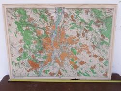 Régi retró Budapest 3D látvány térkép honvédség által kiadott