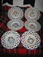 6DB,csipkés, mezei virágos, porcelán tányér, 24cm, (53)