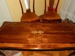 Neobarokk gyönyörű intarziás asztal