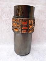 Jelzett art deco bronz váza