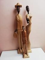 Kubai könnyű fából faragott szobor garnitúra  53 cm magas