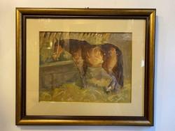 Lovas festmény tempera - papír ismeretlen szigno 942-es jelzéssel