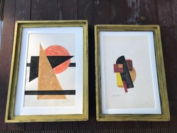 Kassák akvarell kompozíciók külföldi gyűjteményből, 2 db együtt