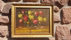 Murin Vilmos: Olaj, vászon 30x40cm, festmény. Rózsa csendélet, aranyos képkeret