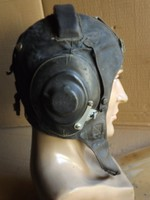 Antik Eredeti ritka Pilóta bőr sisak Katonai haube hajózó fejvédő bőrsapka